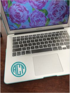 Circle Monogram Laptop Decal by CraftJunkieProblems on Etsy