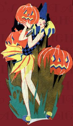 Vivid Colorful RARE Art Deco Halloween FLAPPER.  Digital HALLOWEEN  Download. Digital Vintage Halloween Illustration. Vintage Bridge Tally on Etsy, $1.99