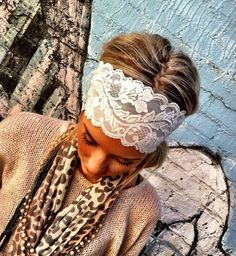 White Stretchy Lace headband - Wedding Head bands- wide hair wrap women's or girl's bridesmaid hair accessory