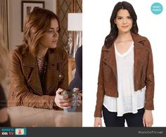 Aria's studded leather jacket on Pretty Little Liars. Outfit Details: https://wornontv.net/59446/ #PLL
