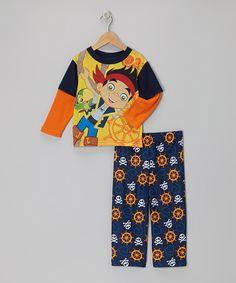 Take a look at this Jake and the Never Land Pirates Yellow & Navy Jake The Pirate Pajama Set - Toddler on zulily today!