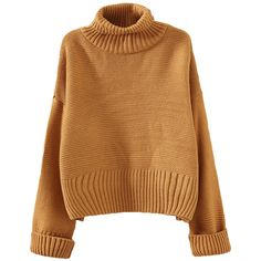 Khaki Oversize Womens High Collar Knit Plain Pullover Sweater (1.280 RUB) ❤ liked on Polyvore featuring tops, sweaters, khaki, high collar sweater, oversized sweaters, brown sweater, brown knit sweater and brown pullover sweater