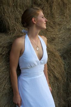 A cotton wedding dress named after the Brazilian Goddess of Love, Mariana is a simple cotton gauze, halter dress that skims airily over the female form. Cotton Wedding Dresses, Dress Name, Tara Lynn, Traditional Wedding Dresses, Nontraditional Wedding, Female Form, Organic Cotton, Our Wedding, White Dress