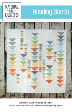 """Heading South takes a modern twist on the traditional flying geese block. This quilt measures 64"""" x 68"""". Material Requirements: 1/2 yard..."""