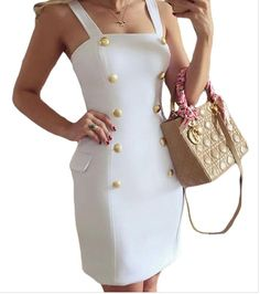 PEGGYNCO Womens Gold Button Fly Side Mock Pocket Mini Dress in White * Check out this great product.