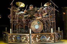 Neil Peart's drum kit. Photo by John Leyba, denverpost.com/reverb.