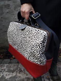 Werktas laptoptas cheetah rood