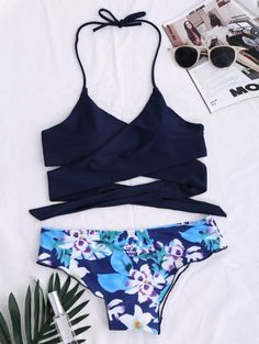 SHARE & Get it FREE | String Floral Panel Bikini Set - Purplish BlueFor Fashion Lovers only:80,000+ Items • New Arrivals Daily Join Zaful: Get YOUR $50 NOW!