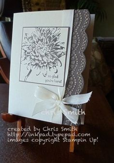 Card Stock Really like the soft grey and ivory color combo that Chris Smith used with her Stampin' Up! stampsReally like the soft grey and ivory color combo that Chris Smith used with her Stampin' Up! Pretty Cards, Cute Cards, Embossed Cards, Stamping Up Cards, Sympathy Cards, Paper Cards, Creative Cards, Flower Cards, Greeting Cards Handmade