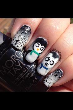 My penguin & polar bear nails