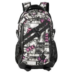 Black White and Hot Pink Durable Canvas Casual Outdoor Travel Backpack Personalized New York City Scene with Monogrammed School Bag