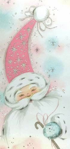 Pink Santa by sugarpie honeybunch, via Flickr.  Clipping from an old Christmas card found in a 50's-60's era scrapbook. I just love this guy