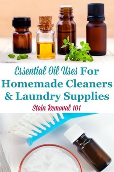 Here is a round up of essential oil uses for cleaning, laundry and stain removal in your home, and how to incorporate these oils into homemade cleaners for scent and also their cleaning properties. Deep Cleaning Tips, House Cleaning Tips, Cleaning Hacks, Cleaning Products, Laundry Supplies, Laundry Tips, Clean Baking Pans, Thing 1, Cleaning Painted Walls