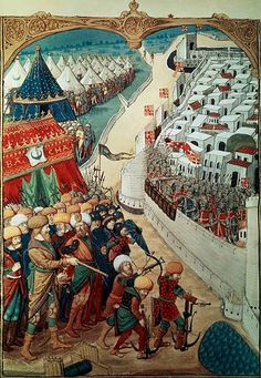 Troops of Sultan Mohammed II laying seige to Constantinople in 1453 miniature Turkey 15th Century