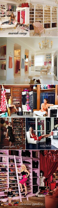 closet ideas, closet inspiration, beautiful closets, famous closets, celebrity closets