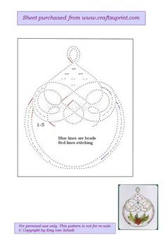 ED028 Christmasbauble on Craftsuprint designed by Emy van Schaik - Stitching with beads - Now available for download!