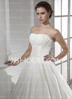 Wedding Dresses - $189.99 - Ball-Gown Sweetheart Court Train Taffeta Wedding Dress With Ruffle (002015468) http://jjshouse.com/Ball-Gown-Sweetheart-Court-Train-Taffeta-Wedding-Dress-With-Ruffle-002015468-g15468
