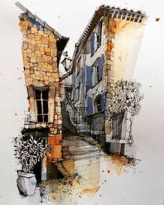 Fennelly Art (@ianfennelly) в Instagram: «France #urbansketchers #usk #wisearchi #architecturefactor #archisketcher #drawing #village #aquarell #art #painting #watercolor #watercolour #sketch #paint #drawing #sketching #sketchbook #travelbook #archisketchery #sketchaday #sketchwalker #sketchcollector #artjournal #traveldiary #topcreator #usk #urbansketch #urbansketchers #скетчбук #скетч #скетчинг #pleinair #aquarelle #watercolorsketch #usk #architecture #painting #illustration