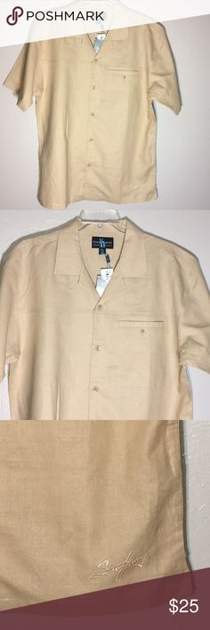 Steve Harvey Button Down short sleeve linen shirt Steve Harvey Button Down short sleeve linen shirt size xxl NWT Camel Im color Steve Harvey Shirts Dress Shirts