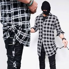 Side Shirring Black Long Check-Shirt 157 Onesize US Size XS-M via SNEAKERJEANS STREETWEAR SHOP