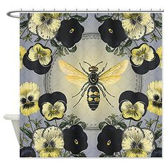 CafePress MODERN VINTAGE French Pansies And Bee Shower Curta Curtain