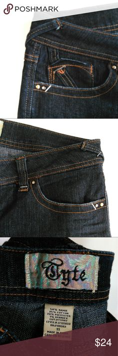 """Tyte jeans size 11 Great shape little scuff under belt line in back please see photos. Also little wear at cuff. 54% ramie, 25% cotton, 20% polyester, 1% spandex. Rise 8"""", in seem 32"""", waiste 35"""". Very cool jeans. tyte Jeans"""
