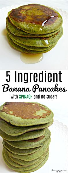 5 Ingredient Banana Pancakes + Baby-Led Weaning - This healthy breakfast recipe will start your day with spinach, bananas and protein. This recipe also works well for babies starting solid food with baby-led weaning. Healthy Desayunos, Healthy Breakfast Recipes, Healthy Snacks, Healthy Eating, Healthy Recipes, Blw Breakfast Ideas, Healthy Steak, Toddler Meals, Kids Meals