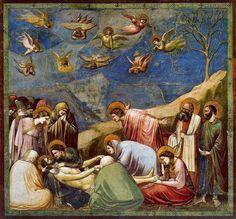 -Autor: Giotto di Bondone -Año: 1305 -Nombre de la obra: Llanto sobre el Cristo muerto -Lugar, Pdua, Italia