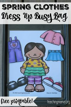 A free printable busy bag with spring clothes for dress up.