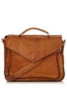 Vintage Leather Satchel by Topshop
