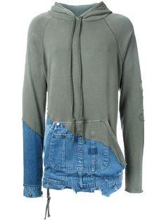 Shop Greg Lauren patchwork hoodie.