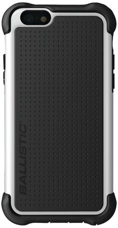 Ballistic iPhone 6 4.7-Inch Tough Jacket Case - Retail Packaging - Black/White. Fits iPhone 6/6s. Reinforced corner & lip protection. Impact-resistant polymer shell over silicone case. Multiple layers. Button & port covers.