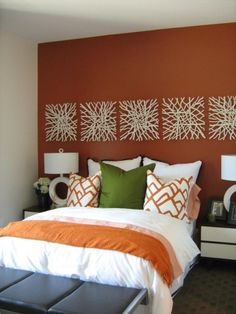 possible bedroom decor ideas. like the repeating pattern on accent wall bedroom-revamp Bedroom Orange, Bedroom Colors, Design Bedroom, Orange Accent Walls, Accent Wall Bedroom, Home Bedroom, Bedroom Ideas, Master Bedroom, Summer Bedroom