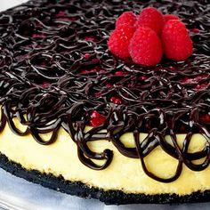 Raspberry Tuxedo Cheesecake--I probably wouldn't eat this, but it's just beautiful, and I might make it for guests.