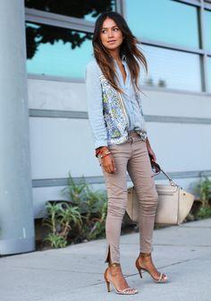 Blouse: Random Skinny jeans: David Bitton Buffalo Heels: Isabel Marant Necklace: Ariel Gordon Rings: Gabriela Artigas, Alexa Leigh, Anine Bing Sunglasses: RAEN