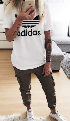 #winter #outfits white and black Adidas shirt