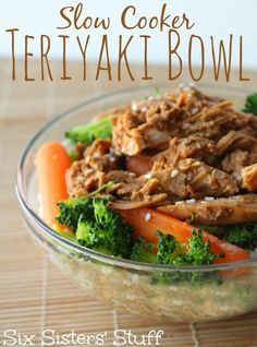Slow Cooker Teriyaki Bowl from Six Sisters' Stuff(Hibachi Teriyaki Chicken) Crock Pot Slow Cooker, Crock Pot Cooking, Slow Cooker Chicken, Slow Cooker Recipes, Crockpot Recipes, Chicken Recipes, Cooking Recipes, Cooking Tips, Fun Easy Recipes
