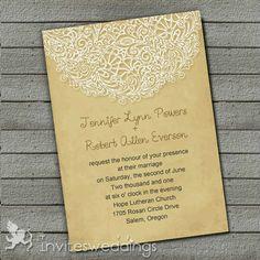 Vintage Custard Yellow Lace Design Wedding Invites IWI310 : Wedding Invitations Online, InvitesWeddings.com