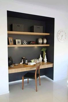 Study nook somewhere in main living zone, like the contrast dark colour and wood… – Modern Home Office Design Desk Nook, Office Nook, Study Office, Bookshelf Desk, Corner Desk, Book Shelves, Alcove Desk, Small Office, Black Office