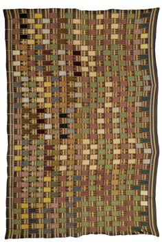 Africa | 'Kente' from the Ewe people of Ghana | Cotton; the woven ground with green, red and yellow stripes and images of weaving combs