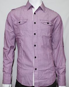 Deacon Mugshot Shirt in Purple/ White