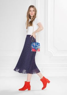 4cfba3b8d2a  amp  Other Stories image 1 of Pleated Midi Skirt in Indigo Pleated Midi  Skirt