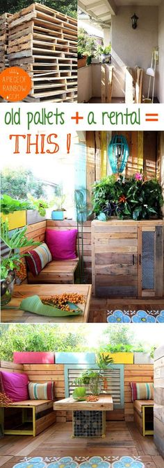 This gorgeous tropical island style outdoor room is made entirely with PALLETS , and a renters remodel!! Everything is a DIY : pallet furniture, living wall, stenciled wood floor, and more! - A Piece of Rainbow