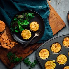 """Shredded sweet potato """"hash browns"""" make up the healthy crust of these gluten-free muffin-tin quiches. This grab-and-go breakfast is super-easy to prep ahead and keep stashed in the fridge or freezer. Serve them for brunch or eat them on busy weekdays. Mediterranean Diet Breakfast, Easy Mediterranean Diet Recipes, Mediterranean Dishes, Mini Quiches, Clean Eating, Healthy Eating, Eating Well, Potato Crust Recipe, Sweet Potato Hash Browns"""