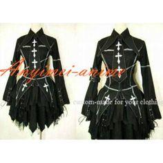 Envío gratis la moda Punk Lolita gótica negro chaqueta del vestido de capa Cosplay traje hecho a medida(China (Mainland))