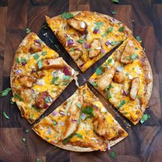 BBQ Chicken Pizza - On a whole wheat tortilla! Talk about crispy thin crust. Perfect for lunch or apps!