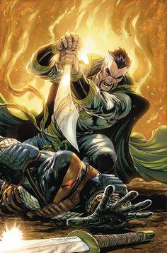"artverso: ""Tyler Kirkham - Deathstroke vs Ra´s Al Ghul "" Dc Deathstroke, Deathstroke The Terminator, Batman Vs, Superman, Batman Comics, The Darkness, Arte Dc Comics, Comic Books Art, Comic Art"