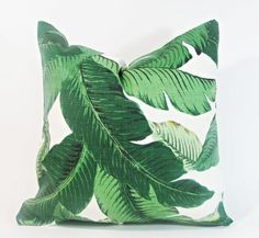 Pair of large custom-made pillows in an iconic tropical banana leaf print fabric. Pillow backs are a oyster white Belgian linen fabric. Pillows are accented. Tropical House Design, Tropical Home Decor, Tropical Houses, Tropical Furniture, Tropical Interior, Tropical Bathroom, Tropical Style, Green Pillow Covers, Green Pillows