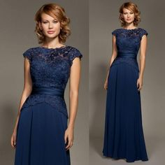 2015 Elegant Navy Blue Mother of the Bride's Dress with Cap Sleeve Sheath Bateau Long Lace Groom's Mother Dress Custom Made 2014, $81.05 | DHgate.com