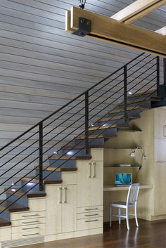 Custom House Construction Corp - stairwell home office. i'm thinking under stairs shelving/cabinets Desk Under Stairs, Storage Under Staircase, Stair Storage, Desk Storage, Under Staircase Ideas, Stair Shelves, Construction Chalet, Cozy Basement, Basement Ideas